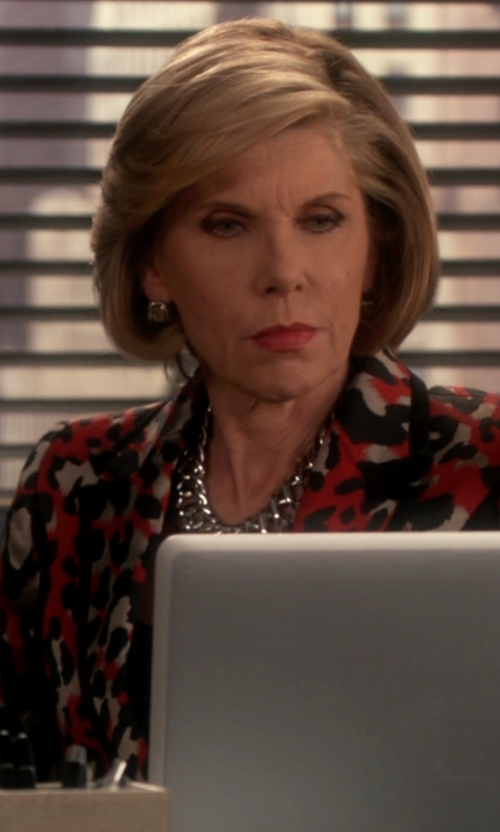 Christine Baranski with Eggs Printed Blazer in The Good Wife