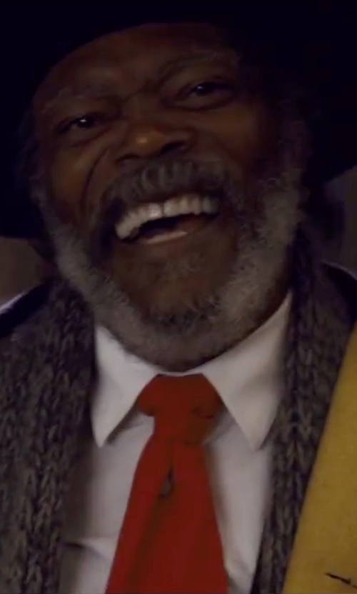 Samuel L. Jackson with Brioni Solid Silk Satin Tie in The Hateful Eight