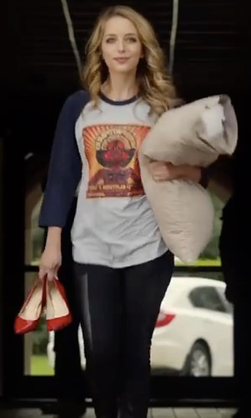 Jessica Rothe with BCBGeneration Leather Panel Leggings in Happy Death Day