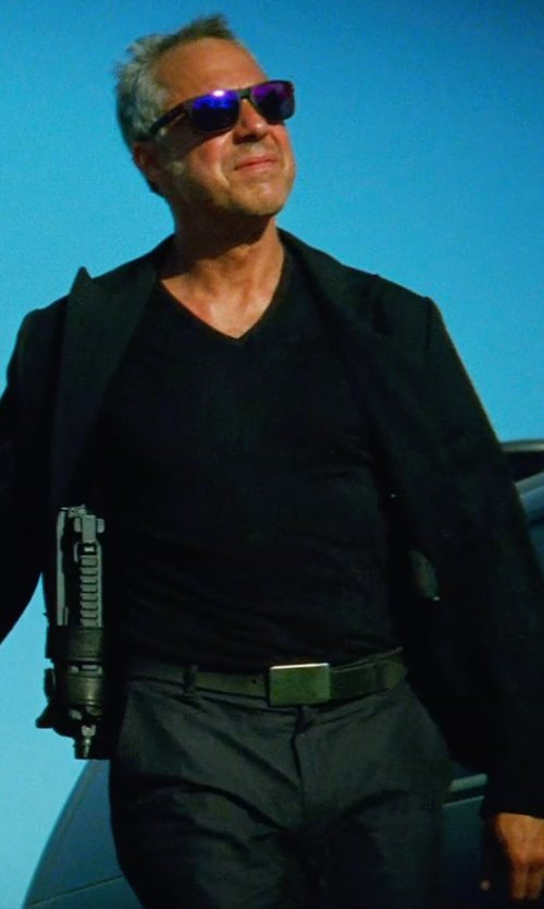 Titus Welliver with OLIVER SPENCER REGULAR-FIT SIDE-STRIPE WOOL TROUSERS in Transformers: Age of Extinction