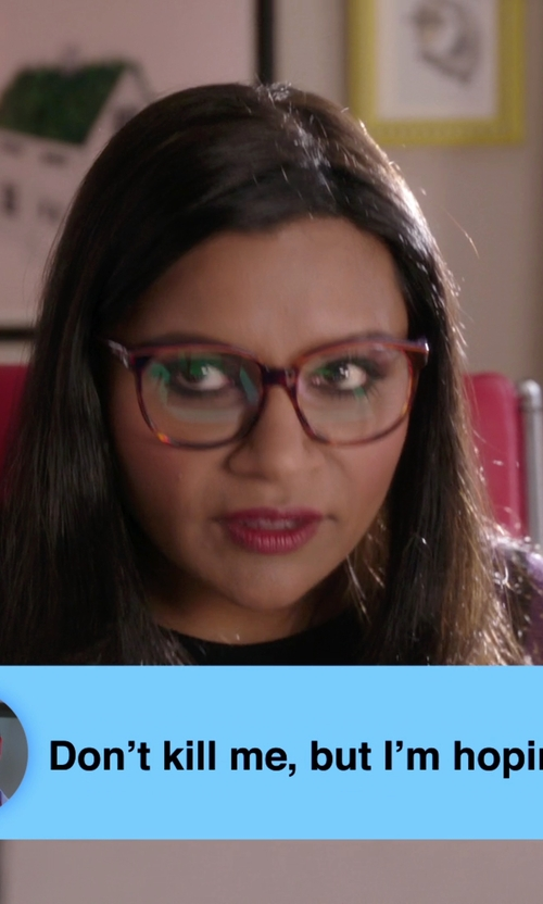 Mindy Kaling with Ray-Ban Tortoiseshell Square Optical Glasses in The Mindy Project