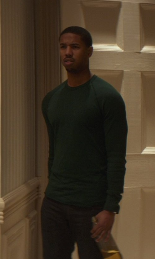Michael B. Jordan with Neiman Marcus Superfine Cashmere Crewneck Sweater in That Awkward Moment