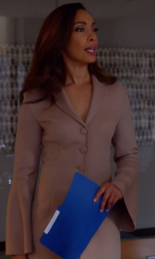Gina Torres with Philosophy Di Alberta Ferretti Single Breasted Coat in Suits
