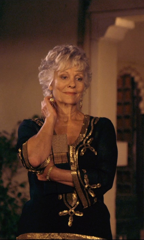 Diana Hardcastle with Jude Frances Yellow Gold Oval Link Earrings in The Second Best Exotic Marigold Hotel