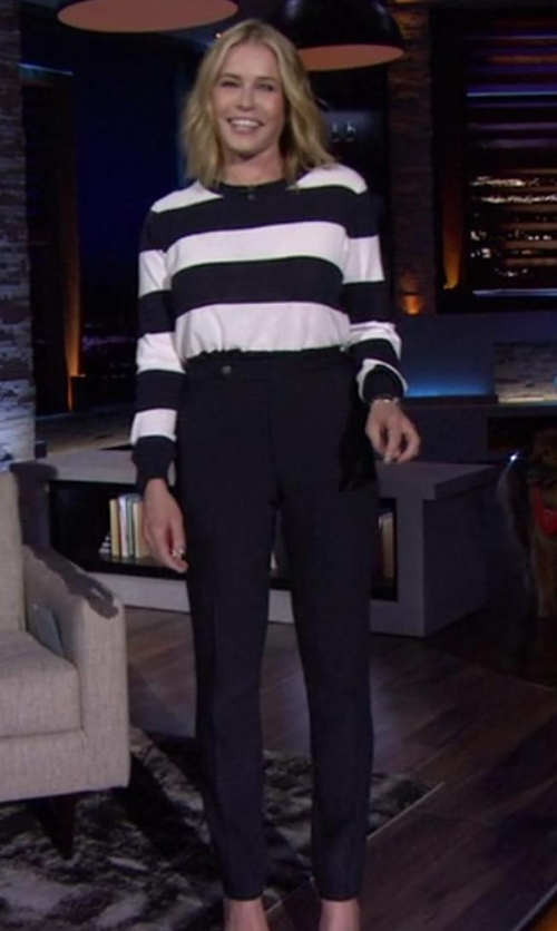 Chelsea Handler with Tahari Arthur S. Levine Side Zip Slim Fit Pants in Chelsea