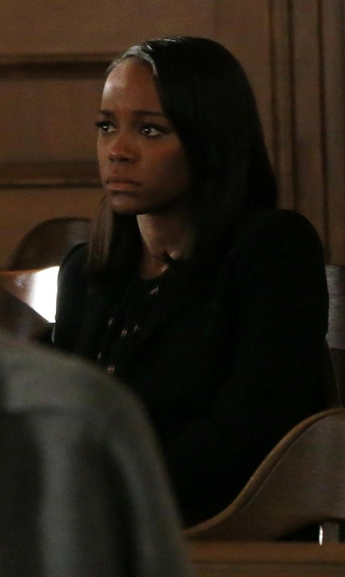 Aja Naomi King with Elizabeth and James Alex Stretch Crepe Blazer in How To Get Away With Murder