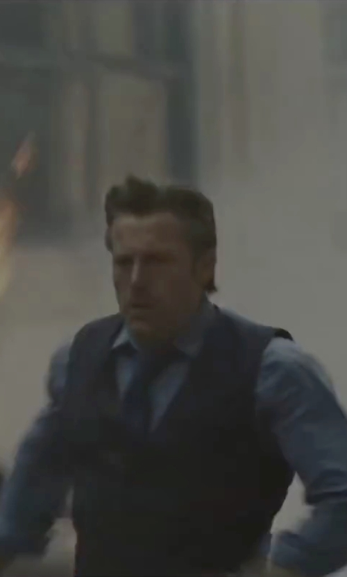 Ben Affleck with Gucci Custom Made Blue Vest in Batman v Superman: Dawn of Justice