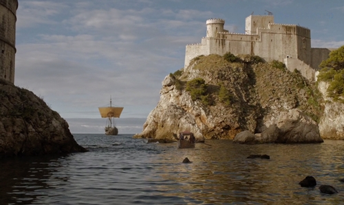 Unknown Actor with Fort Lovrijenac (Depicted as The Red Keep) Dubrovnik, Croatia in Game of Thrones