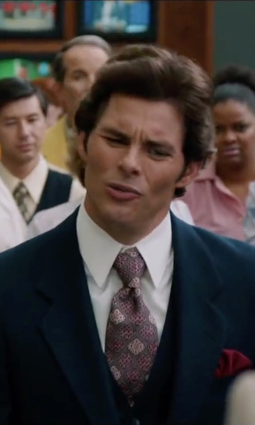 James Marsden with Indochino Luxury Indigo Herringbone Three-piece Suit in Anchorman 2: The Legend Continues