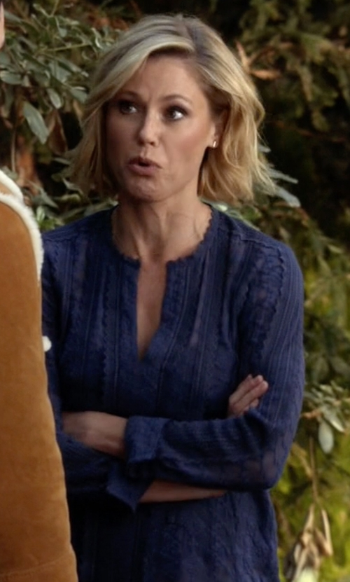 Julie Bowen with Rebecca Taylor Embellished Silk Chiffon Top in Modern Family