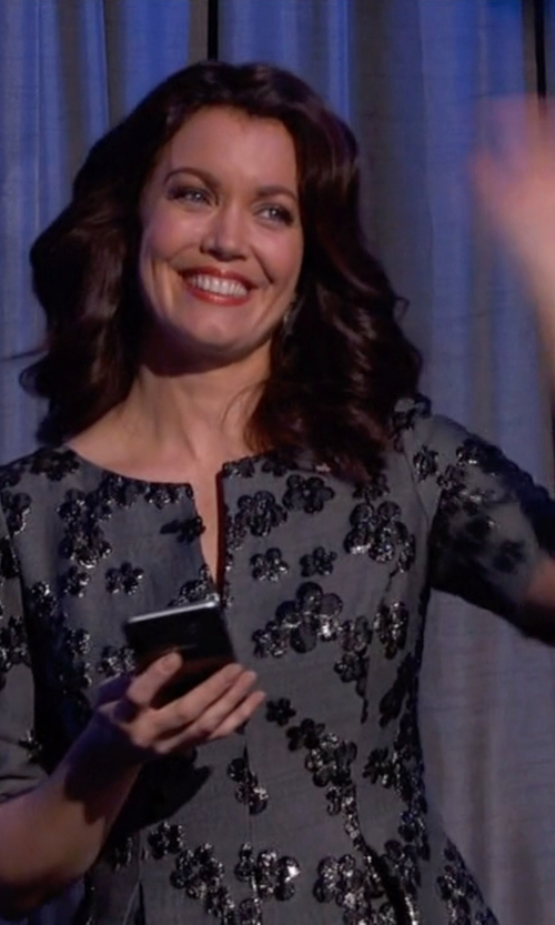 Bellamy Young with Lela Rose Floral Jacquard Half-Sleeve Dress in Scandal