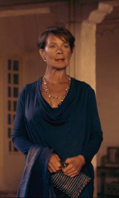 Celia Imrie with Alexis Bittar Geometric Mother-of-Pearl Bib Necklace in The Second Best Exotic Marigold Hotel