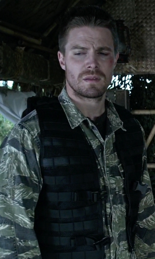 Stephen Amell with Mil-Com Military Shirt in Arrow
