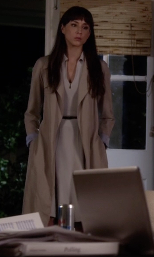 Troian Bellisario with ASOS Trench Coat In Bonded Cloth in Pretty Little Liars