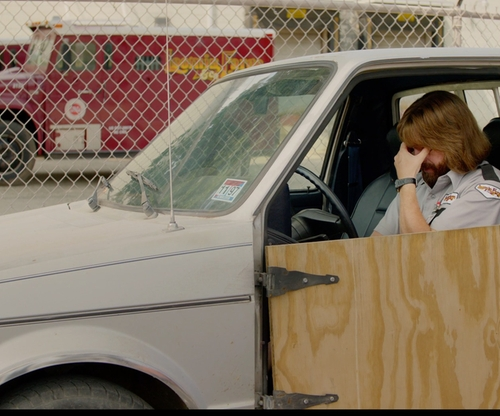Zach Galifianakis with Volkswagen Rabbit Pickup Truck in Masterminds