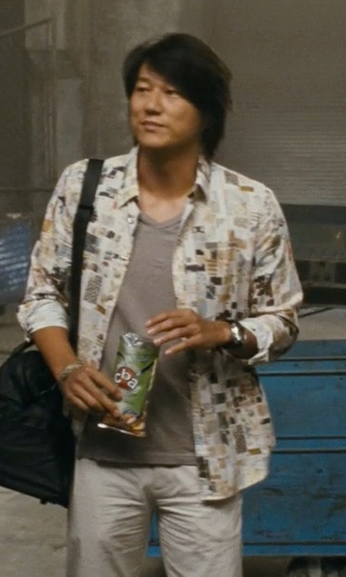 Sung Kang with Acne Studios V-Neck T-Shirt in Fast Five