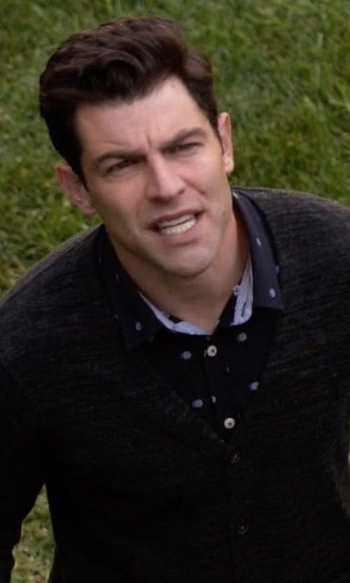 Max Greenfield with Ralph Lauren Purple Label Bond Polka Dot Sportshirt in New Girl