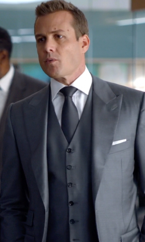 Gabriel Macht with Turnbull & Asser Silk Pocket Square in Suits