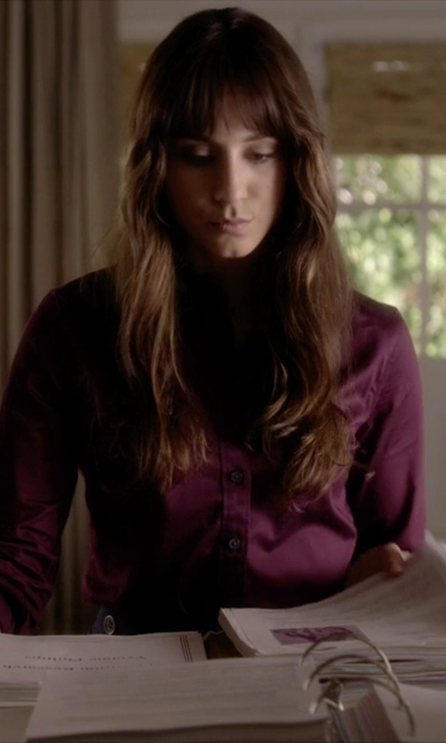 Troian Bellisario with Theory Silk Button Front Blouse in Pretty Little Liars