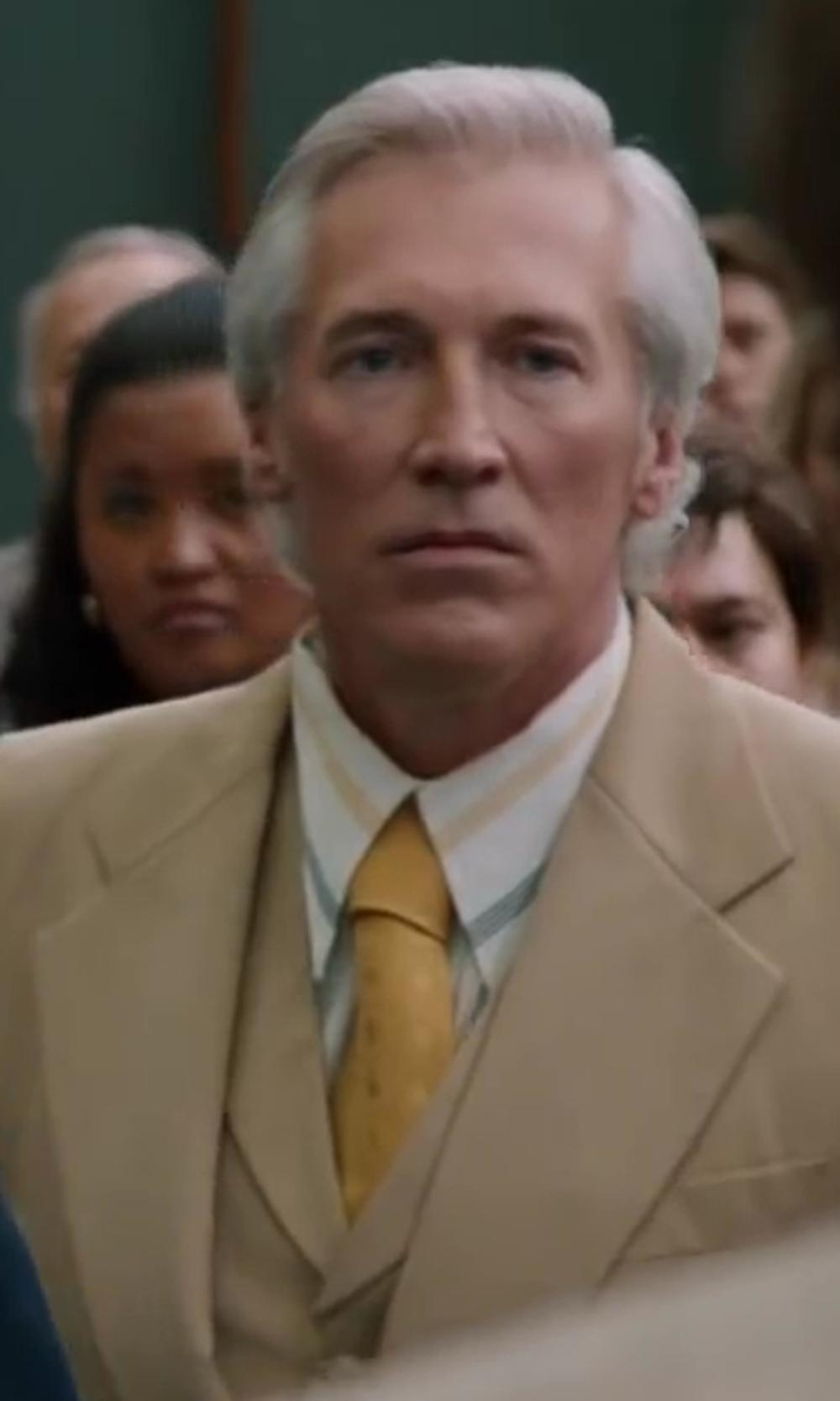 Fred Galle with Donald J. Trump Tahitian Pearl Extra Long Tie in Anchorman 2: The Legend Continues