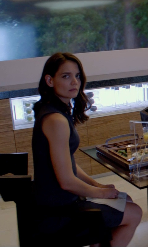 Katie Holmes with Theory Betty Fitted Sleeveless Dress in The Giver