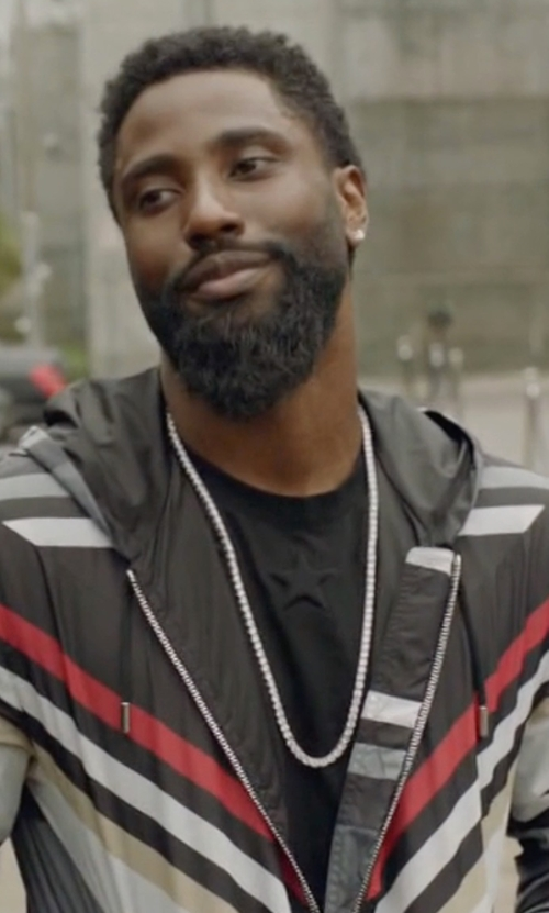 John David Washington with Givenchy Embossed Embroidered Stars T-Shirt in Ballers