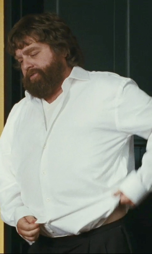 Zach Galifianakis with Brooks Brothers Pleat-Front Unfinished Gabardine Trousers in The Hangover