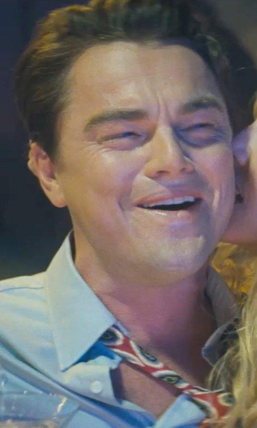 Leonardo DiCaprio with Ermenegildo Zegna Printed Fancy Circle Medallion Silk Tie in The Wolf of Wall Street