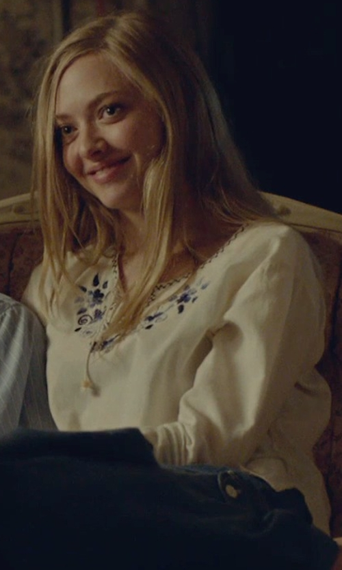 Amanda Seyfried with Alice + Olivia Mapton Wide Sleeve Peasant Top in While We're Young