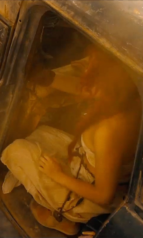 Riley Keough with Joanna August Tatum Long Strapless Gown in Mad Max: Fury Road