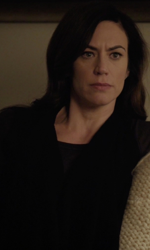 Maggie Siff with 3.1 Phillip Lim Long Raglan Cardigan in Billions