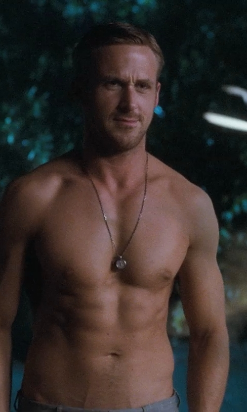 Ryan Gosling with Dayna Pink (Costume Designer) Custom Coin Necklace in Crazy, Stupid, Love.
