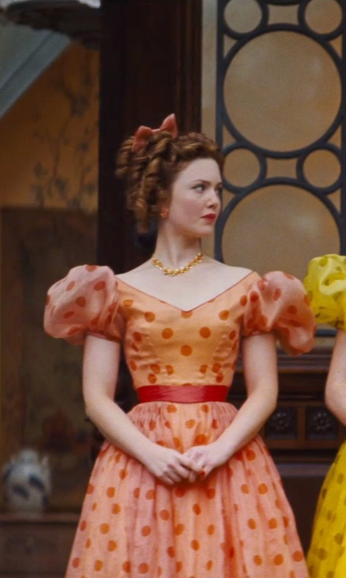 Holliday Grainger with Sandy Powell (Costume Designer) Custom Made Orange Floral Earrings (Anastasia) in Cinderella