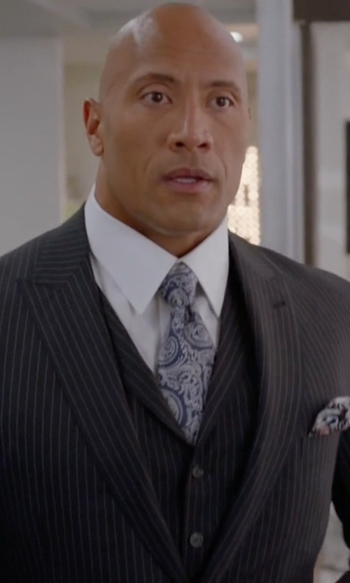 Dwayne Johnson with Tom Ford Buckley Base Pinstripe Three-Piece Wool Suit in Ballers