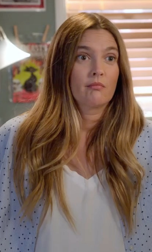 Drew Barrymore with Sleepy Jones Printed Marina Cotton Pajama Shirt in Santa Clarita Diet