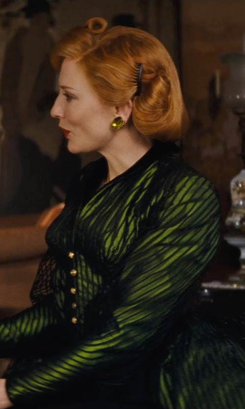 Cate Blanchett with Sandy Powell (Costume Designer) Custom Made Emerald Stone Earrings (Lady Tremaine) in Cinderella