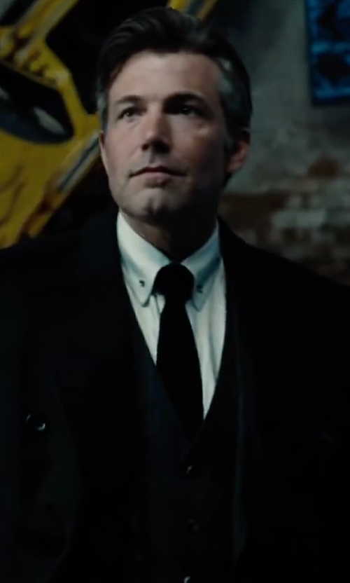 Ben Affleck with Saks Fifth Avenue Collection Double-Breasted Wool Coat in Justice League