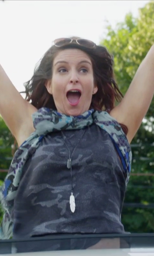 Tina Fey with Echo Icy Flora Silk Square Scarf in Sisters