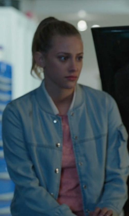 Lili Reinhart with Diesel De-Matty Denim Jacket in Riverdale