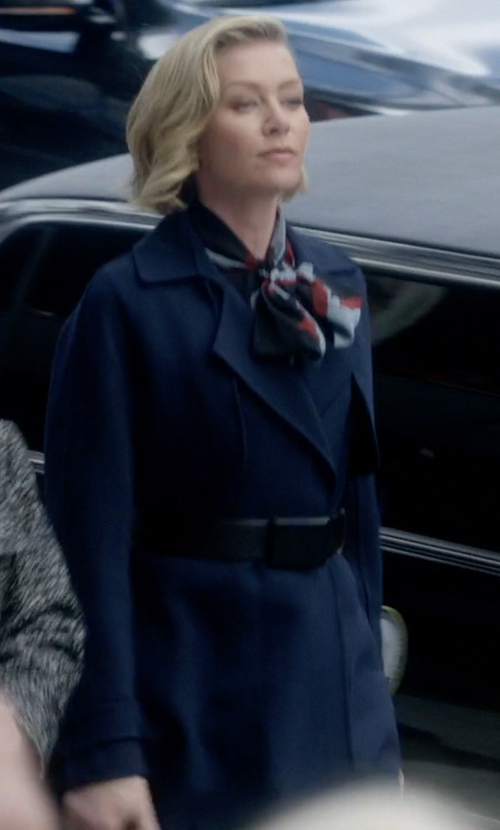 Portia de Rossi with DKNY Flared Wool Coat in Scandal