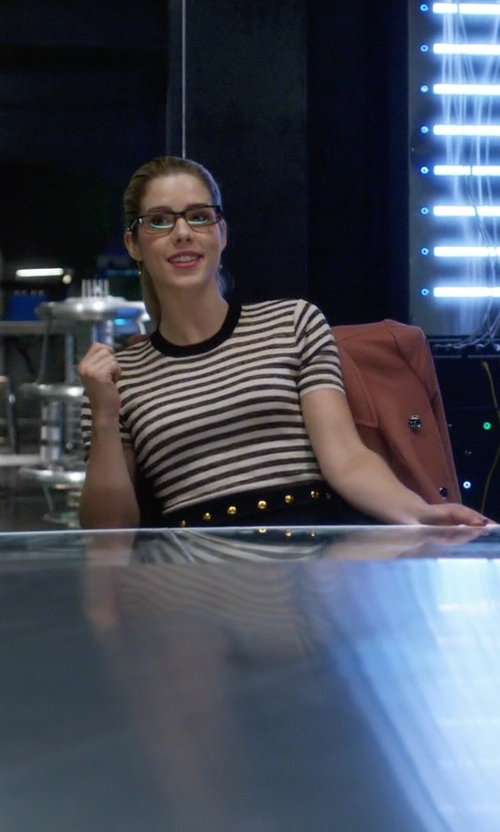 Emily Bett Rickards with Sandro Redlake Stretch-Knit Dress in The Flash