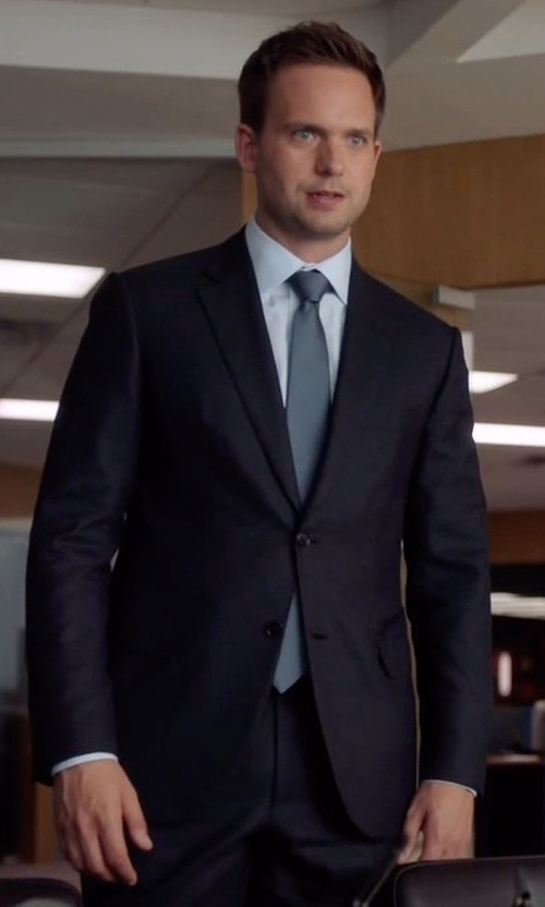 Patrick J. Adams with Giorgio Armani Two-Button Soft Basic Suit in Suits