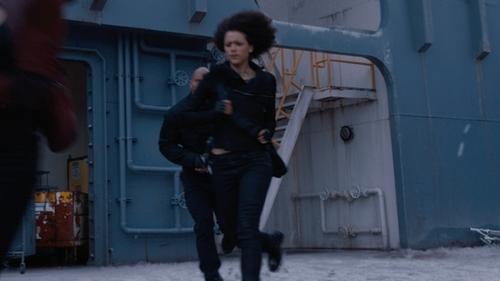 Nathalie Emmanuel with Diesel Leather Combat Boots in The Fate of the Furious