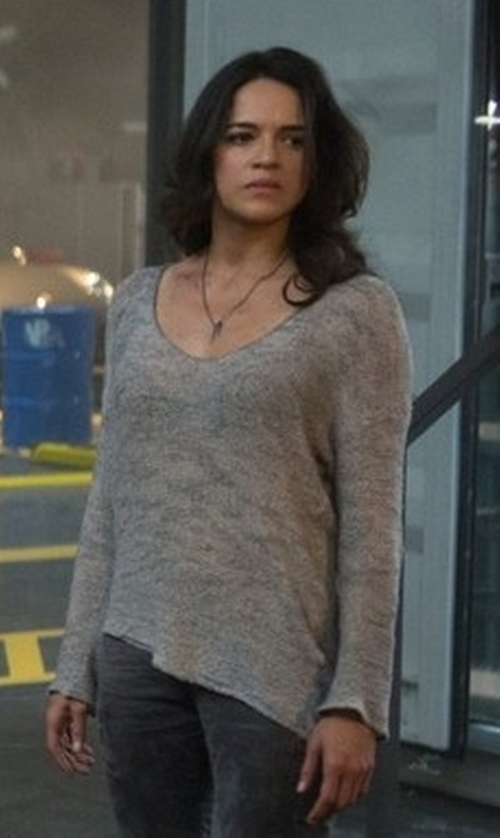 Michelle Rodriguez with Majestic Paris for Neiman Marcus Soft-Touch French Terry Sweatshirt in The Fate of the Furious