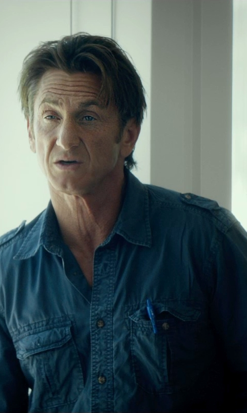 Sean Penn with Ralph Lauren Twill G.I. Utility Shirt in The Gunman