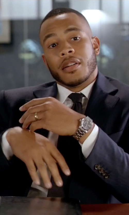 Trai Byers with Montblanc Meistertuck Heritage Date Watch in Empire
