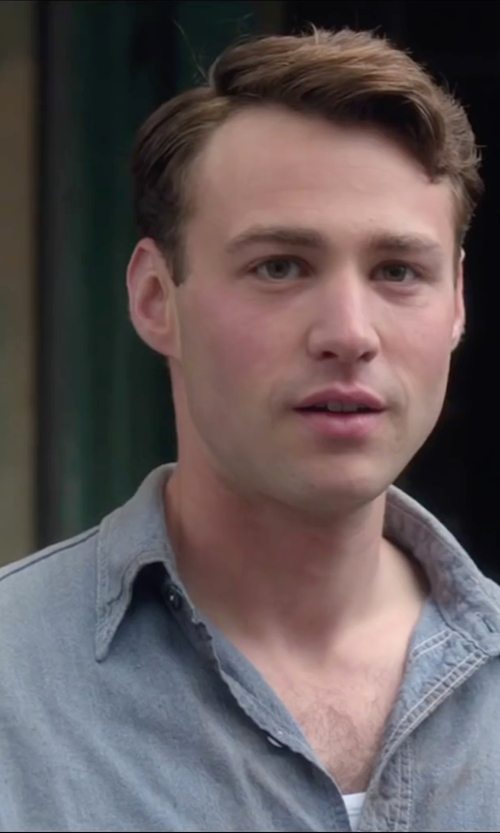Emory Cohen with Faherty Belmar Reversible Cotton-Chambray Shirt in Brooklyn
