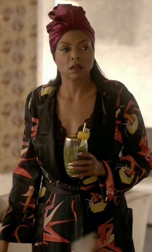 Taraji P. Henson with Agent Provocateur Orchid Stretch-Silk Robe in Empire