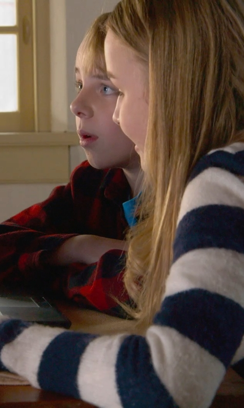 Olivia DeJonge with Calvin Klein Striped Turtleneck Sweater in The Visit