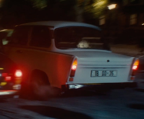Armie Hammer with Trabant 601S Sedan Car in The Man from U.N.C.L.E.